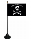 Pirate Commitment to Excellence Desk / Table Flag with plastic stand and base